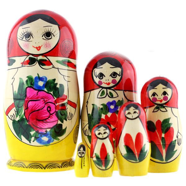 Russian Traditional Semyonovskaya Nesting Doll (Matryoshka), 6 Pcs, Height - 5.8