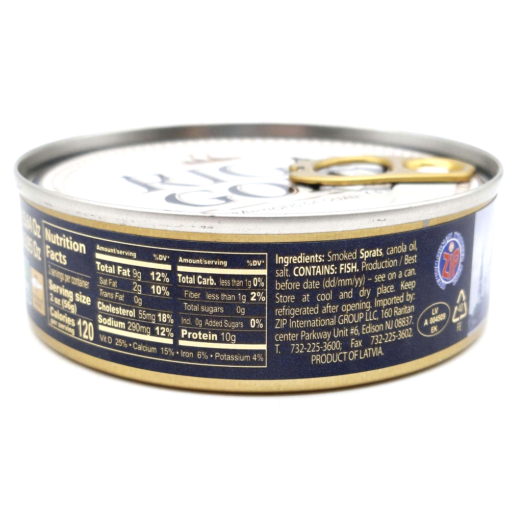 Latvian Smoked Riga Sprats in Oil Easy Open Tin Can, 5.6 oz / 160 g