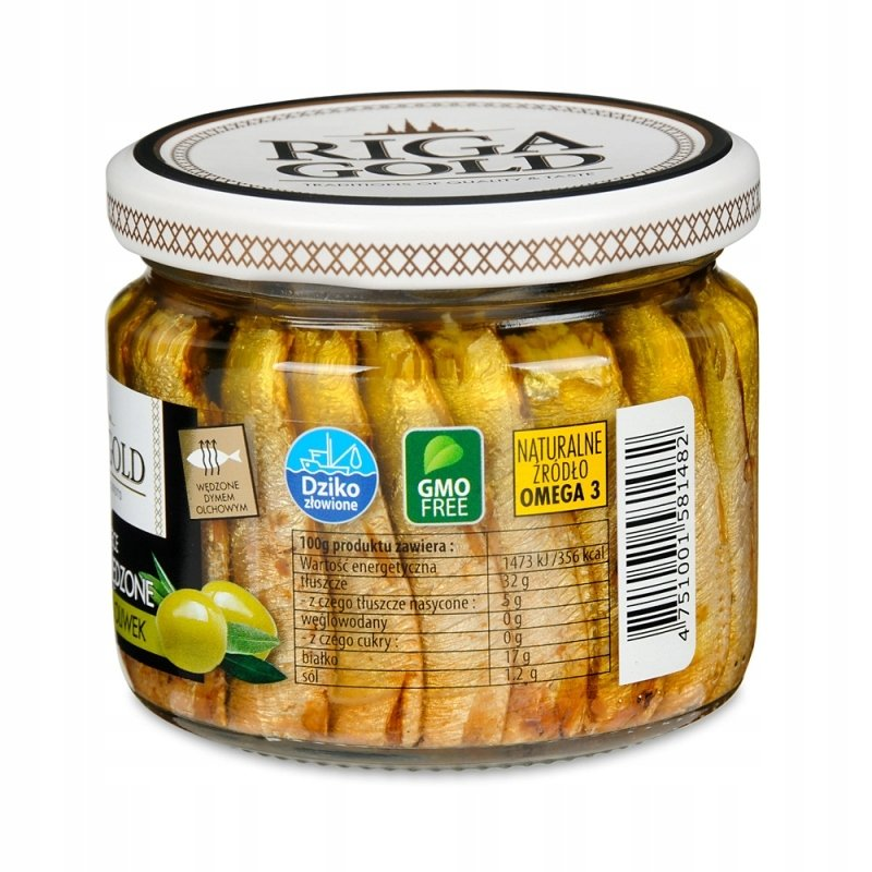 Smoked Sprats in Olive Oil, Riga Gold, 270g/ 0.6 lb