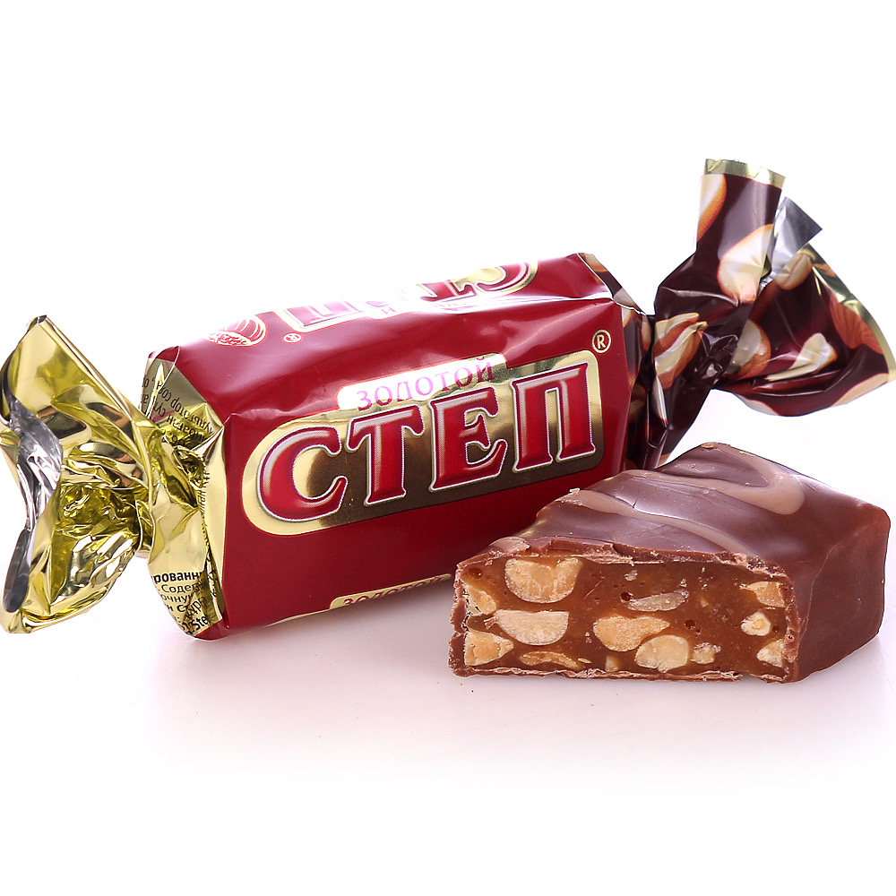 Chocolate Candy with Nuts, Golden Step (red), Slavyanka, 1 kg / 2.2 lb