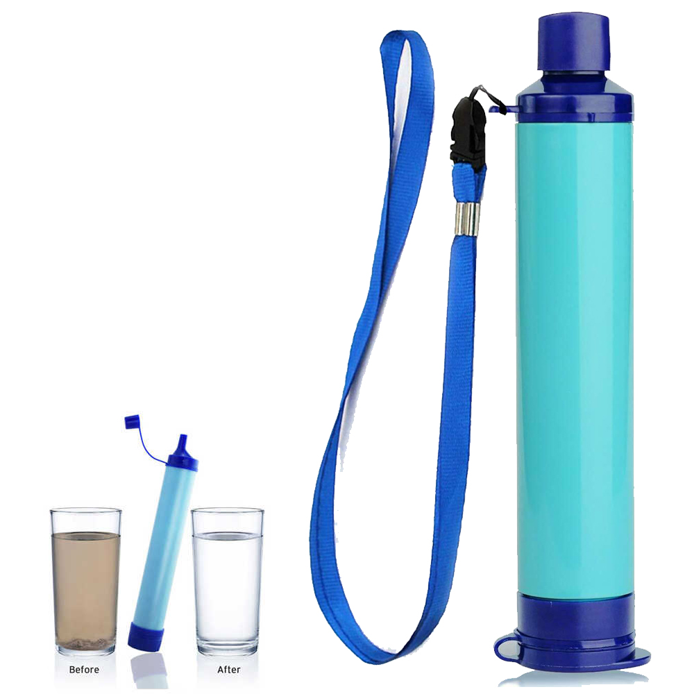 Survival Personal Water Filter Straw, Blue