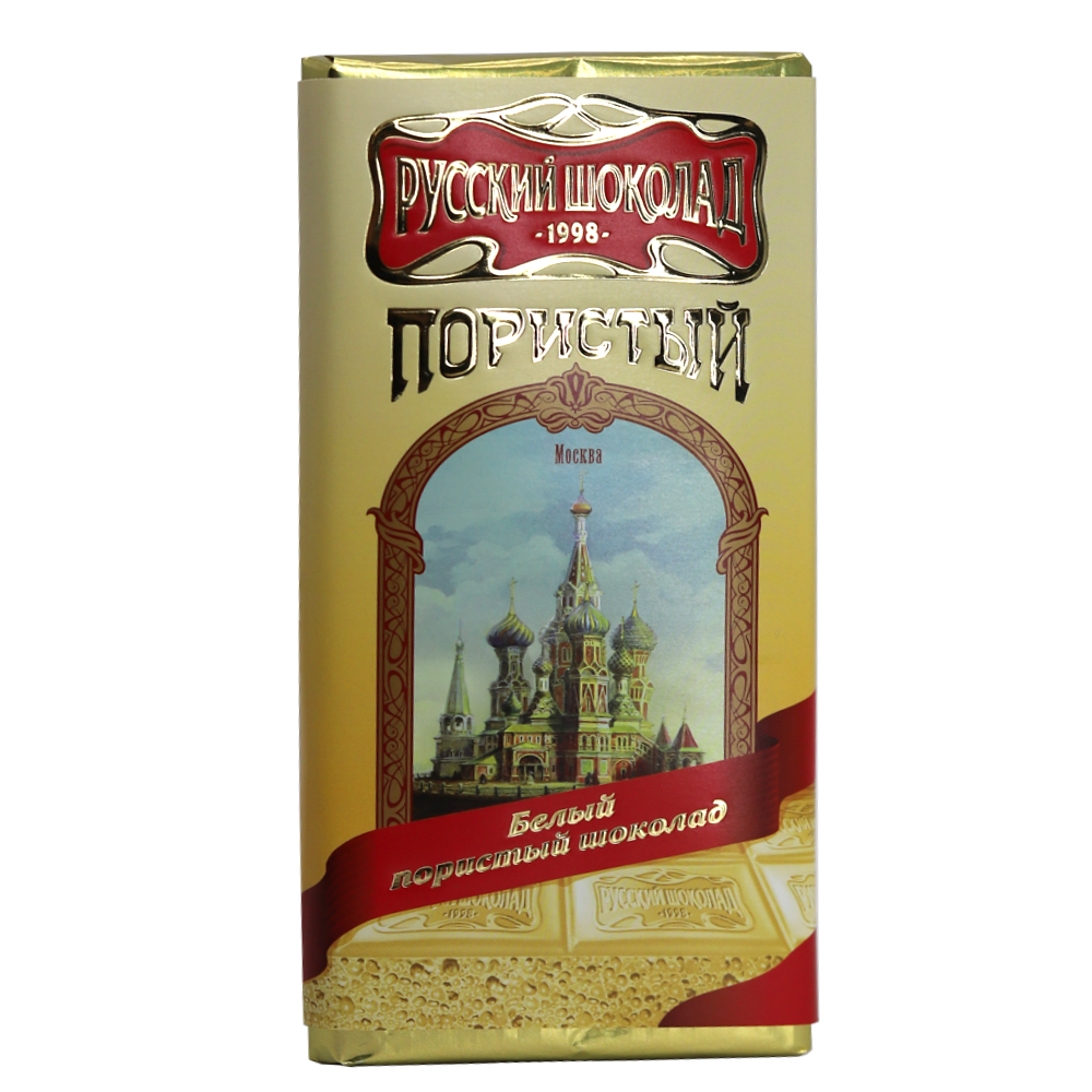 Pack 4 White Aerated Russian Chocolate in a Gift Box (Palekh Painting), 90 g x 4 pcs