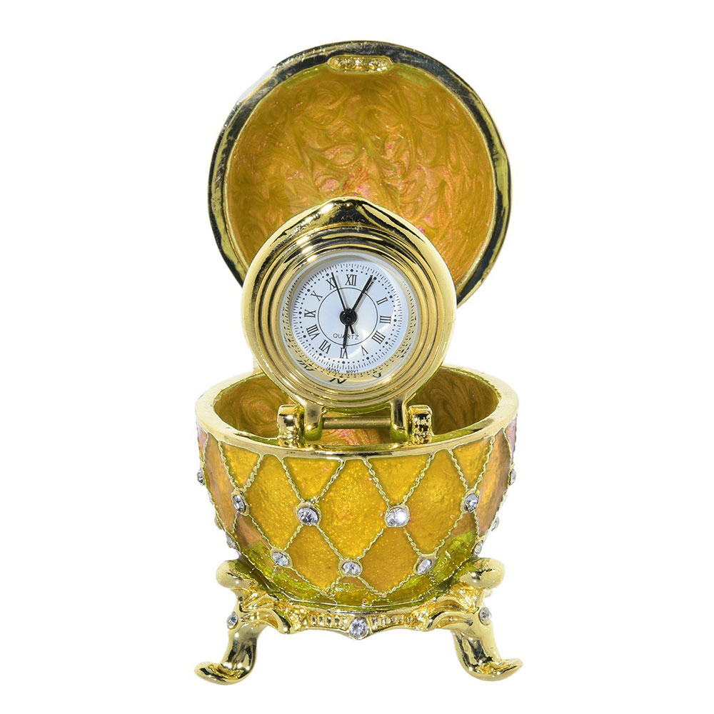 Russian Style Egg with Clock and Swarovski Crystals (5 rows, golden), 2.5