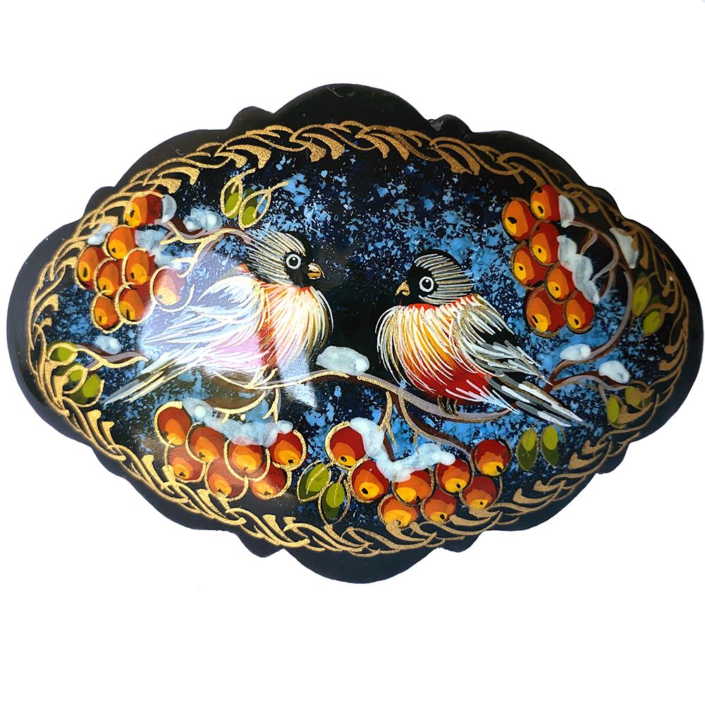 Hair Clip Russian Style, Handmade, Palekh Painting, Bullfinches