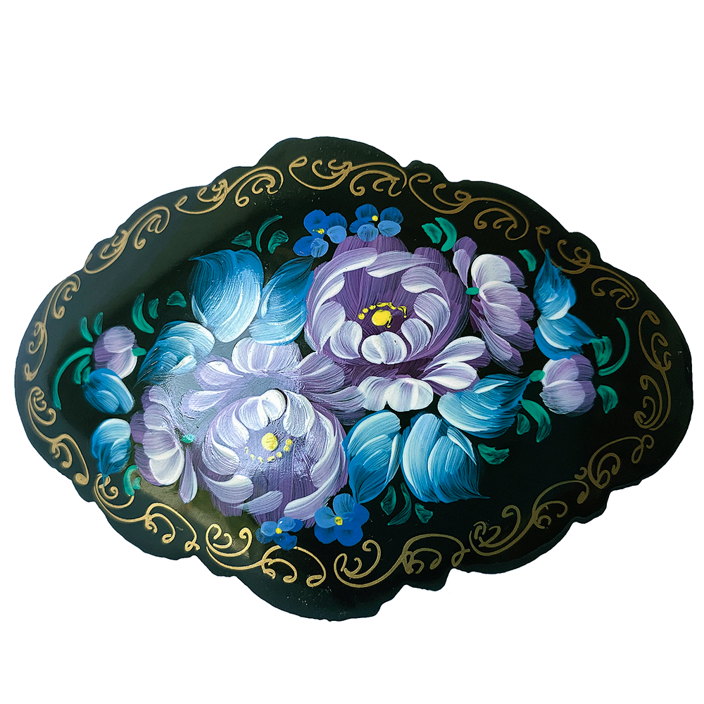 Hair Clip Russian Style, Handmade, Zhostovo Painting, Blue Flowers