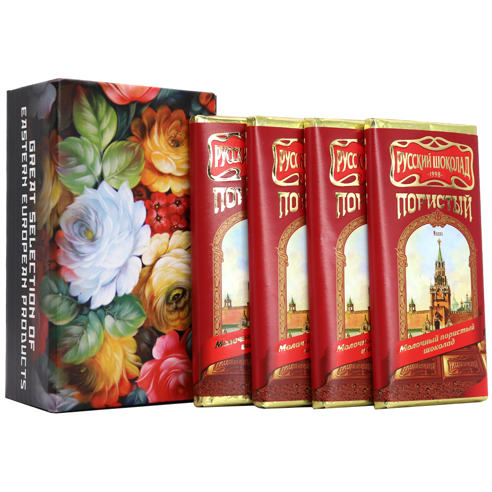 Pack 4 Milk Aerated Russian Chocolate in a Gift Box (Zhostovo Painting), 90 g x 4 pcs