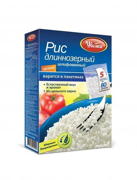 Uvelka White Long Grain Rice 5x80 Boil-in-Bags, 14.10 oz/ 400 g