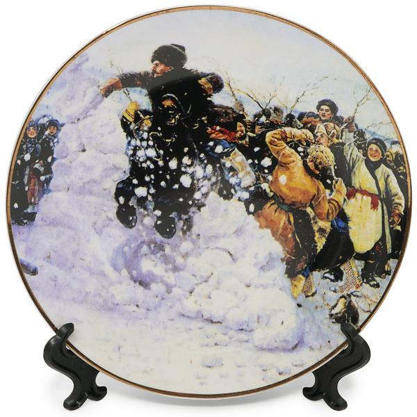 "Decorative Plate ""Taking a Snow Town"", Vasily Surikov"