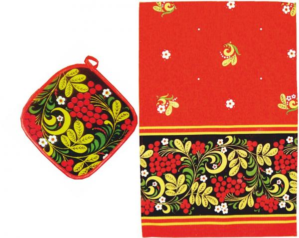 Khokhloma Souvenir Set of 2 - Potholder and Kitchen Towel  (A20009)