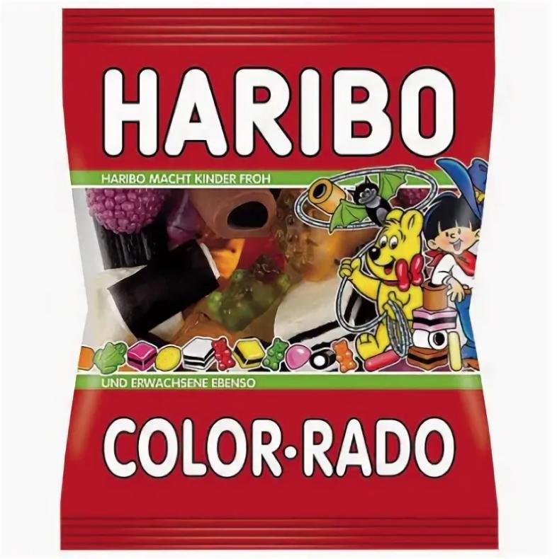 Liquorice Gummy Candy Color Rado, Haribo, 100g / 0.22 lb