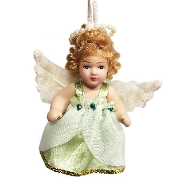 "Porcelain Angel Doll with a Ribbon, 4.6"" / 7 cm"