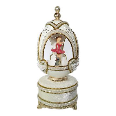 """White Egg Shell Ballerina Music Box, 5.51"""" / 14 cm (WS-G002M)"""