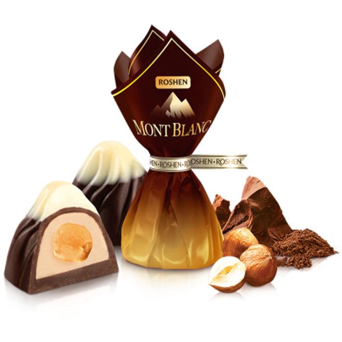 Mont Blanc Praline with Whole Hazelnuts, White and Dark Chocolate, 0.5 lb/ 226 g