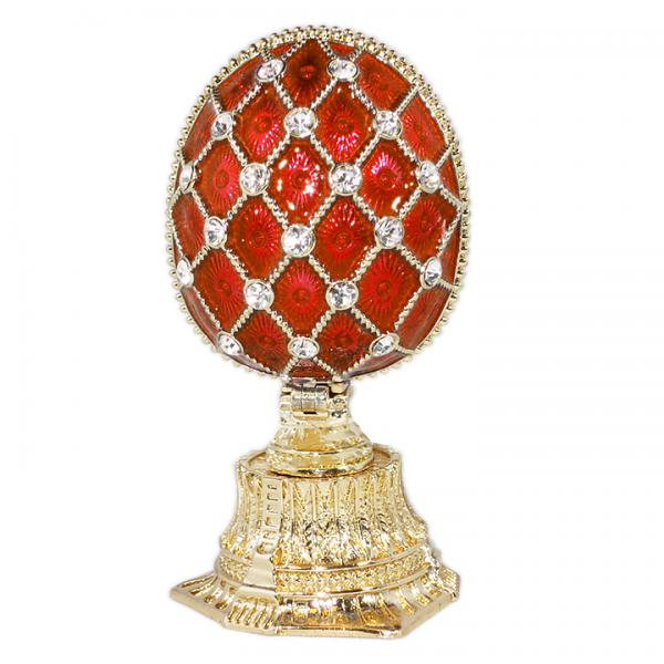 """Russian Style Egg Mesh Pattern with Crystals and Saint Basil's Cathedral (RED), 1.5"""" (HE0897M-1+HE1871)"""