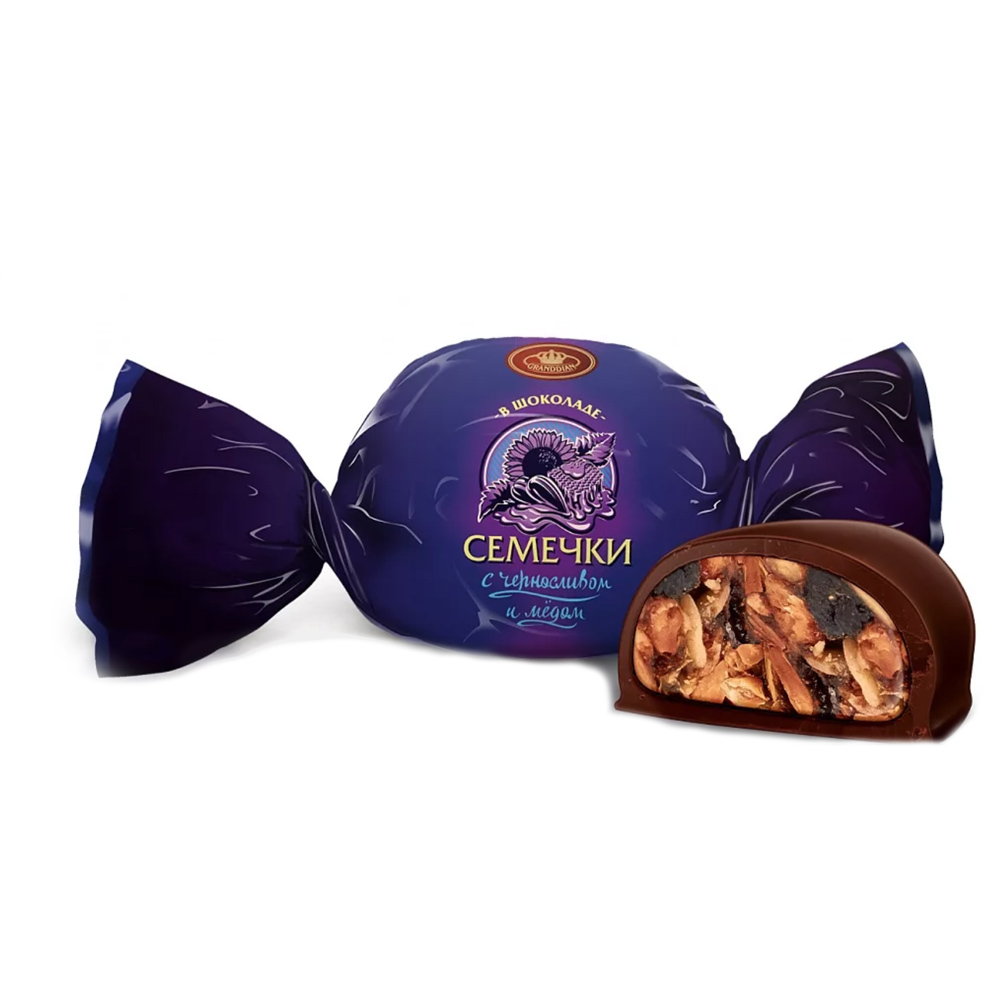 Chocolate Candy with Sunflower Seeds, Honey and Prunes, 0.5 lb / 0.22 kg