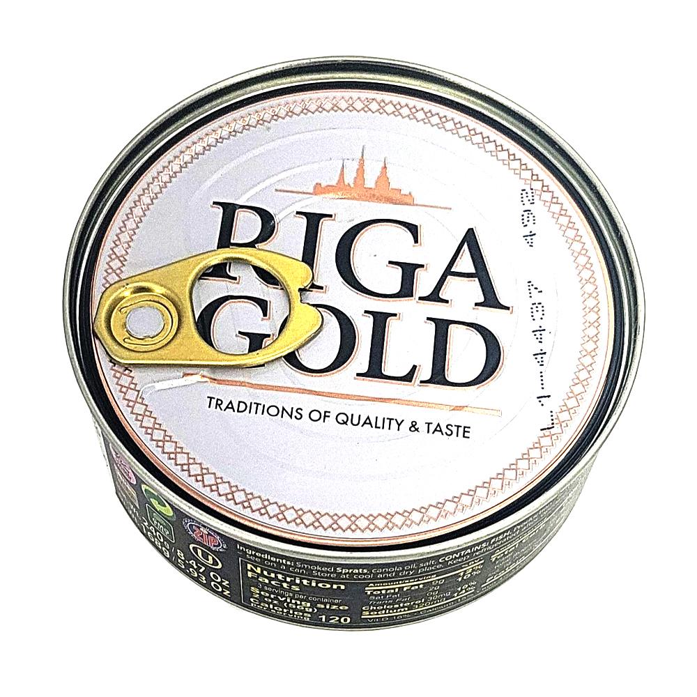 Riga Smoked Sprats in Oil, Riga Gold, 240 g/ 0.53 lb