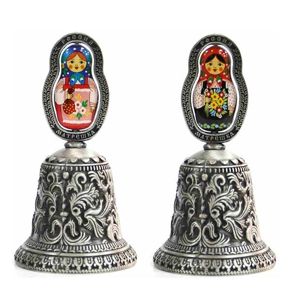 Metal Embossed Bell with Colored Matryoshka Insert (pewter), 3.75