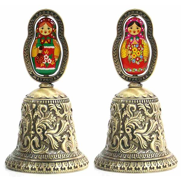 """Metal Embossed Bell with Colored Matryoshka Insert (bronze), 3.75"""" / 9.5 cm"""
