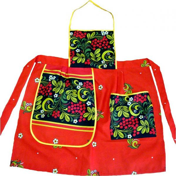 Apron Khokhloma with a pocket and a towel