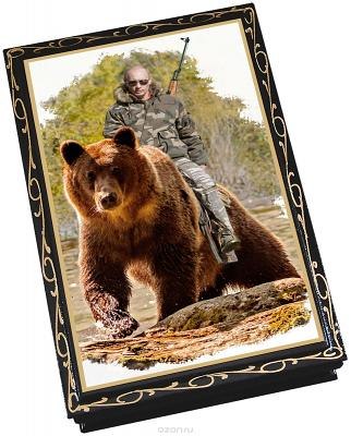 "Chocolate prunes with almonds in a lacquer box ""Putin on a Bear"", 150 g"