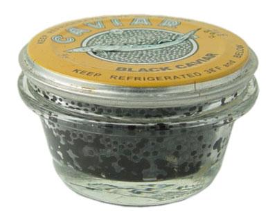 Sturgeon Paddle Fish Black Caviar Malosol in Glass Jar, 4 oz/ 113 g