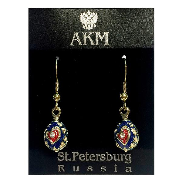 """Russian Style Earrings Set """"Heart"""" (red and blue), 1219-49-02"""