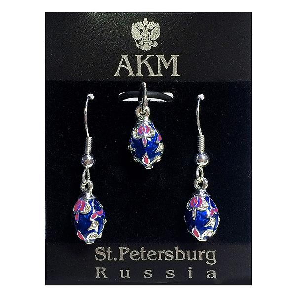 """Russian Style Pendant and Earrings Jewelry Set """"Bouquet"""" (blue), 1220-37-02"""
