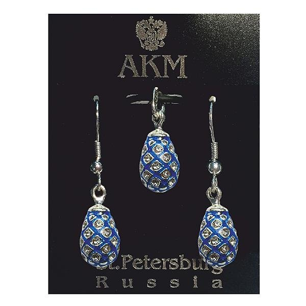 """Russian Style Pendant and Earrings Jewelry Set """"Pine Cone with Crystals"""" (blue), 1220-39-02"""