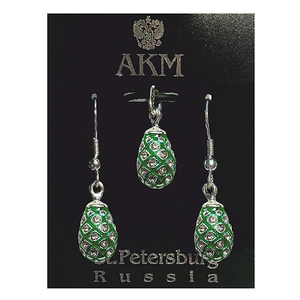 "Russian Style Pendant and Earrings Jewelry Set ""Pine Cone with Jewels"" (green), 1220-39-03"