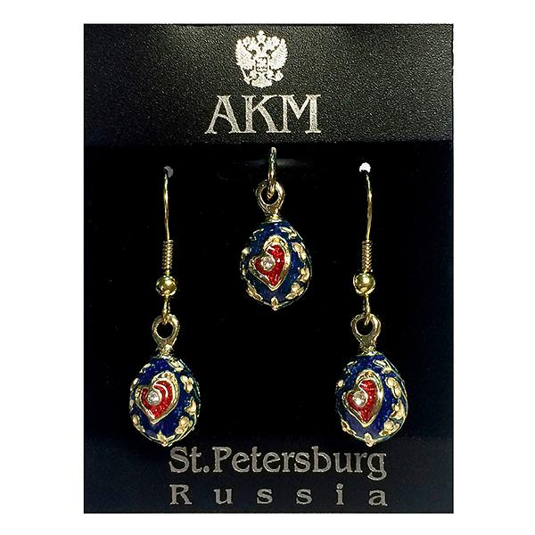 """Faberge Style Pendant and Earrings Jewelry Set """"Heart"""" (red and blue), 1220-49-02"""
