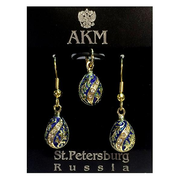 """Russian Style Pendant and Earrings Jewelry Set """"Twist with Flowers"""" (blue), 1220-54-02"""