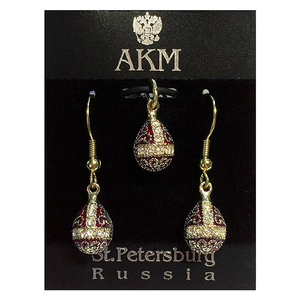 "Russian Style Pendant and Earrings Jewelry Set ""Finift"" (red and golden), 1220-57-01"