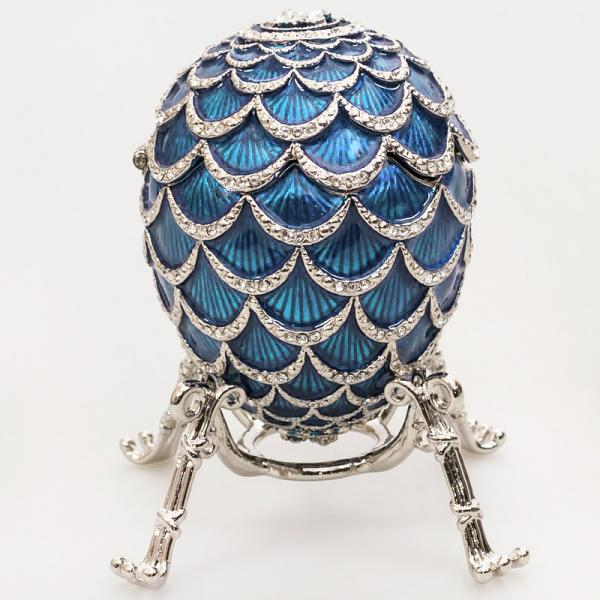 """Exquisite Russian Style Egg """"Pine Cone"""" with the Clock LIGHT BLUE, 3.62"""" / 9.2 cm (HJD1160CL-2)"""