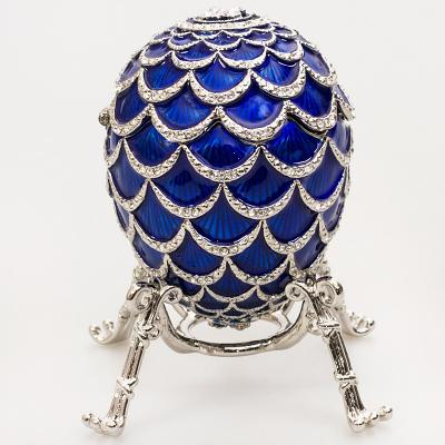 """Russian Style Egg """"Pine Cone"""" with the Clock (blue), 3.62"""" / 9.2 cm (HJD1160CL-3)"""