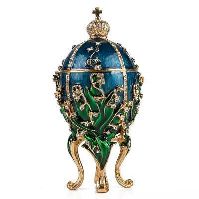 "Russian Style Egg Jewelry Box ""Lilies"" BLUE, 3.5"" / 9.4 cm (WS-JB80889J2-S)"