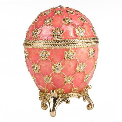 """Coronation Egg with Clock (pink), 2.75"""" / 8 cm (HJD0725CL-1)"""