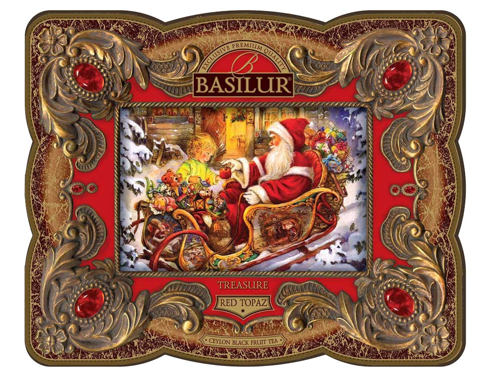 Basilur Treasure Collection Gourmet Gift Tea in a Tin Box with Fruits, 3.53 oz / 100 g