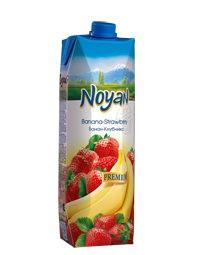 Natural Premium Armenian Noyan Banana Strawberry Juice, 34 oz / 1 L