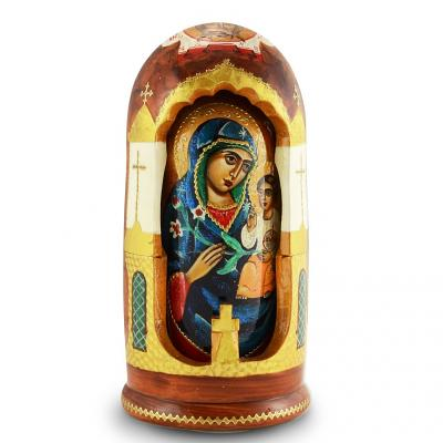 Handmade Wooden Icons as 5 Nesting Dolls Holy Mother of God, Fadeless Color, 8""