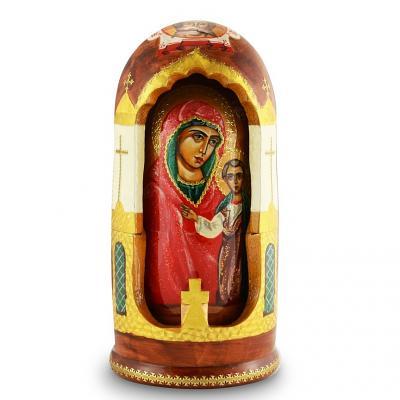 "Handmade Wooden Icons as 5 Nesting Dolls ""Kazan Holy Mother of God"" (Our Lady of Kazan), 8"""