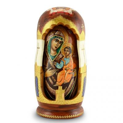 "Handmade Wooden Icons as 5 Nesting Dolls ""Iviron Holy Mother of God"" (Our Lady of Iviron), 8"""
