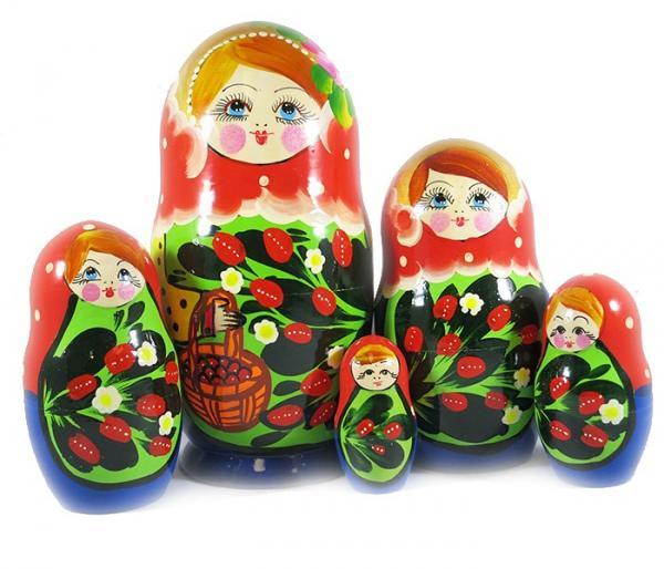 "Nesting Doll (Matryoshka) ""Little Basket 90*180"" Russian Traditional Souvenir, 5 Pcs, Height - 7"""