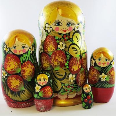 "Nesting Doll (Matryoshka) ""Berry 90*170"" Russian Traditional Souvenir, 5 Pcs, Height - 7"""