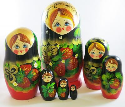 "Nesting Doll (Matryoshka) ""Berries"" Russian Traditional Souvenir, 7 Pcs, Height - 8"""