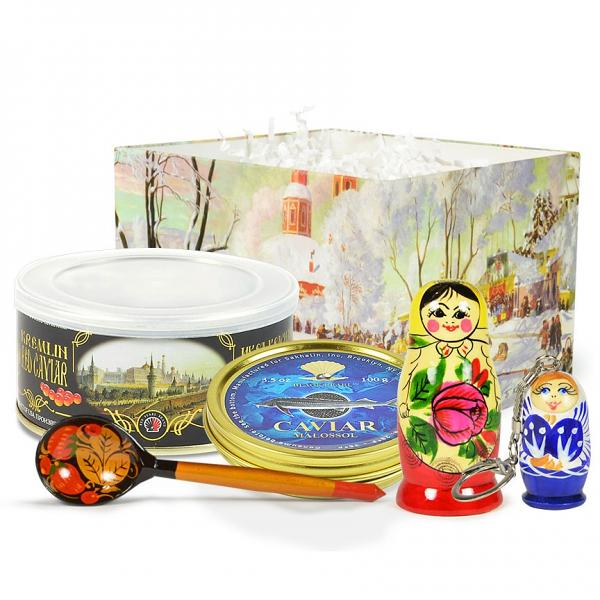 "Russian Traditional Gourmet Gift Set with Red and Black Caviar ""Kremlin"""