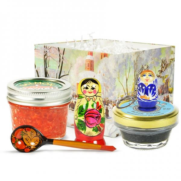 "Russian Traditional Gourmet Gift Set with Black & Red Caviar ""Russian Gift"" (small box)"