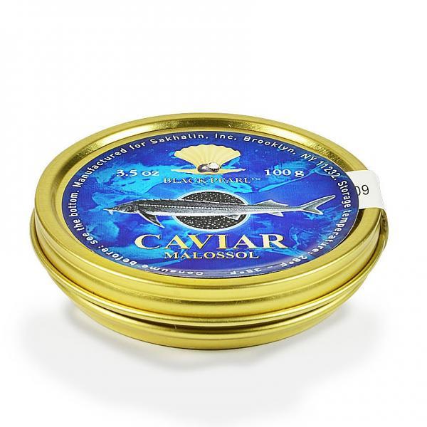 "Premium Quality Kaluga Black Caviar ""Malosol"", 3.5 oz/ 100 g"