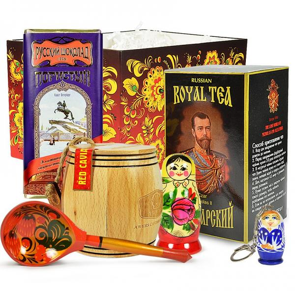 """Red Caviar in a Wooden Barrel Gourmet Gift Set with traditional Russian Tea and Chocolate, """"Russian Red"""" (medium box)"""
