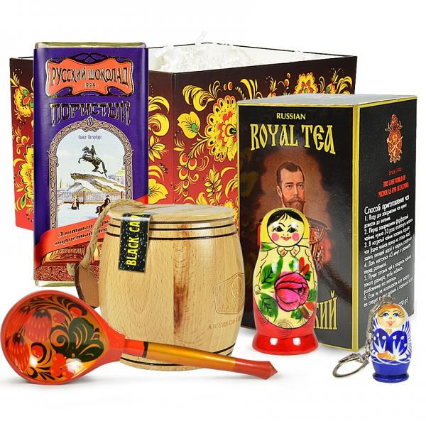 Black Caviar Gourmet Gift Set w/traditional Russian Tea and Chocolate, Medium Box