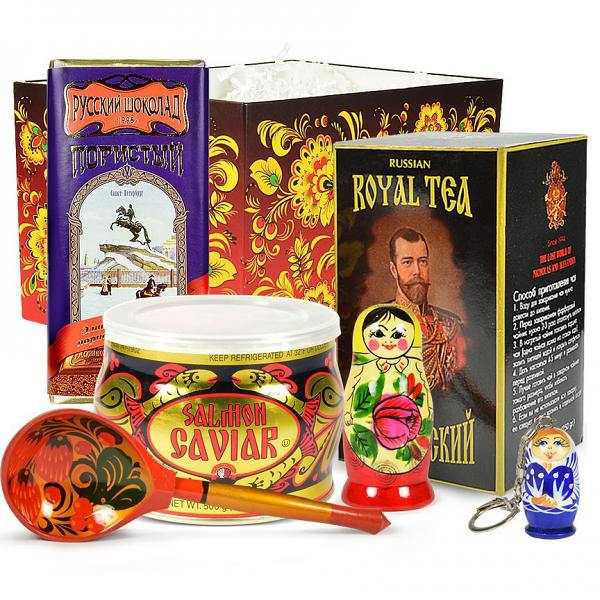 Red Caviar Gourmet Gift Set with Traditional Russian Tea and Chocolate